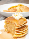 Pancakes With Butter and Maple Syrup Stock Images
