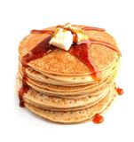 Pancakes with butter and maple syrup close up . Stock Image