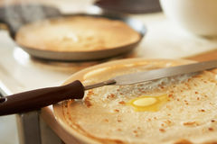 Pancakes with butter Royalty Free Stock Photography