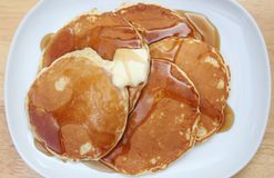 Pancakes with Butter and Syrup. Top Down View of Pancakes With Butter and Syrup Royalty Free Stock Photos