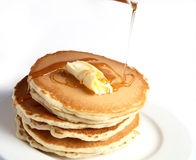 Pancakes with butter and syrup Royalty Free Stock Images