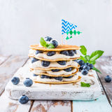 Pancakes cake with yogurt and blueberries Royalty Free Stock Photo