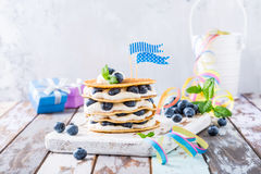 Pancakes cake with yogurt and blueberries Stock Image