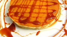 Pancakes With Caramel Sauce stock video footage