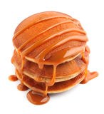 Pancakes with caramel topping. Stock Photo