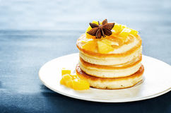 Pancakes with caramelized apples Royalty Free Stock Images