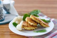 Pancakes from cauliflower Stock Photo