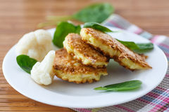 Pancakes from cauliflower Royalty Free Stock Images