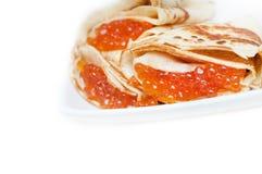 Pancakes with caviar Royalty Free Stock Photo