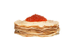 Pancakes with caviar isolated Stock Images