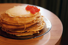 Pancakes with caviar Royalty Free Stock Photography