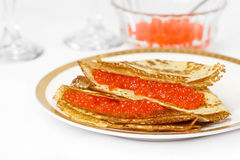 Pancakes with caviar. Stock Photography