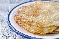 Pancakes on the ceramic plate Royalty Free Stock Images