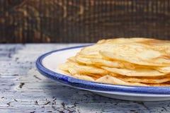 Pancakes on the ceramic plate Royalty Free Stock Photos