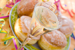 Pancakes and champagne Stock Images