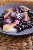 Pancakes  - creps with cheese, cream and blueberri Royalty Free Stock Image