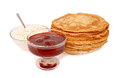 Pancakes,cheese and jam. Stock Image