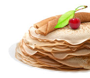 Pancakes with cherries Stock Image