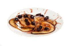 Pancakes with Cherries. Pancakes with cherry jam on white background Stock Photo