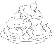 Pancakes with cherries coloring page Royalty Free Stock Photo