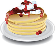 Pancakes with cherries Stock Illustration