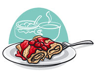 Pancakes with cherry jam. Illustration of the pancakes with cherry jam Royalty Free Stock Photos