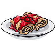 Pancakes with cherry jam Royalty Free Stock Image