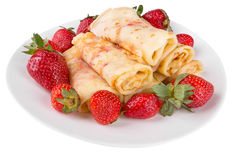 Pancakes with cherry jam and strawberries Stock Photo