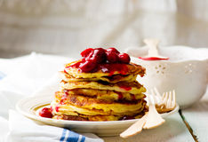 Pancakes with cherry Royalty Free Stock Photos