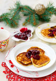 Pancakes with cherry Royalty Free Stock Images