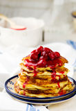 Pancakes with cherry Stock Image