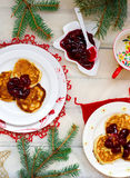 Pancakes with cherry Royalty Free Stock Photography