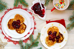 Pancakes with cherry Royalty Free Stock Photo