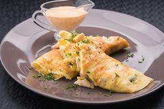 Pancakes with chicken Royalty Free Stock Photo