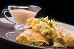 Pancakes with chicken Royalty Free Stock Images