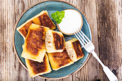 Pancakes with Chicken, Mushrooms and Meat royalty free stock photos