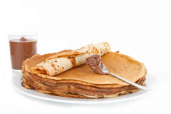 Pancakes and chocolate Royalty Free Stock Photography