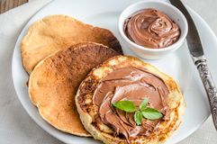 Pancakes with chocolate cream Royalty Free Stock Photo