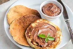 Pancakes with chocolate cream Royalty Free Stock Photo