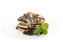 Pancakes with chocolate and mint Stock Photos