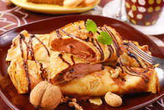 Pancakes with chocolate mousse Royalty Free Stock Images