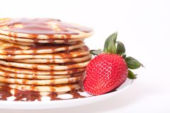 Pancakes with chocolate  souce Royalty Free Stock Images