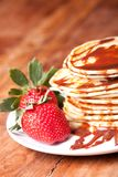 Pancakes with chocolate  souce Royalty Free Stock Image