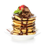 Pancakes with chocolate syrup close-up isolated Stock Photography