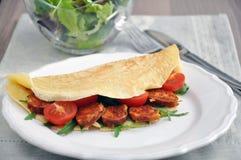 Pancakes with Chorizo Stock Images