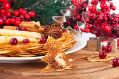 Pancakes with christmas Stock Images