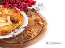 Pancakes with christmas berries Royalty Free Stock Photo