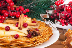 Pancakes with christmas berries and pastry Royalty Free Stock Images