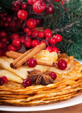 Pancakes with christmas berries and star Royalty Free Stock Photos