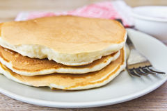 Pancakes closeup. On a plate Royalty Free Stock Images